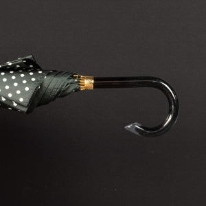 Pasotti Umbrella Black with White Polka Dot and Acetate Handle