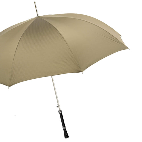 Pasotti Men's Umbrella Brown and Black with Enamel Resin Handle