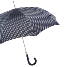 Load image into Gallery viewer, Pasotti Umbrella Men's Umbrella: Blue and Grey with Blue Leather Handle
