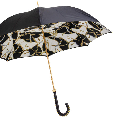 Pasotti Double Cloth Black Bridle Umbrella with Leather Handle