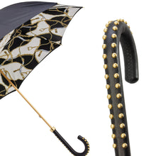 Load image into Gallery viewer, Pasotti Double Cloth Black Bridle Umbrella with Leather Handle