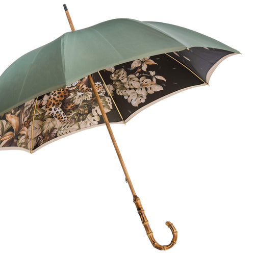 Pasotti Double Cloth Leopard Umbrella with Bamboo Handle