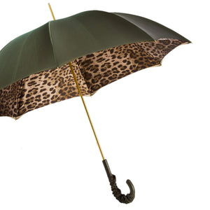 Pasotti Double Cloth Olive Green Leopard Umbrella with Leather Handle