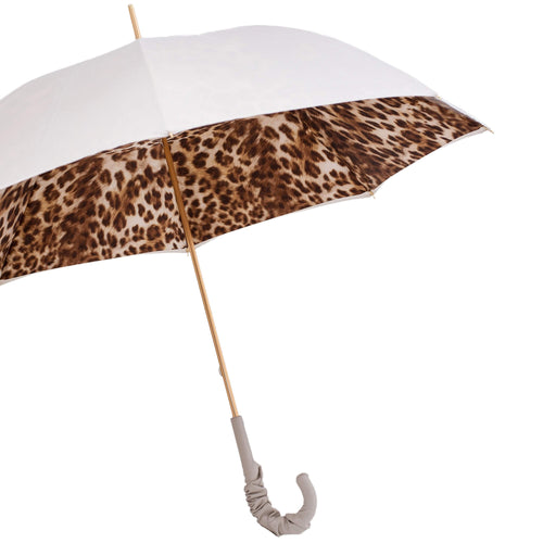 Pasotti Double Cloth White Leopard Umbrella with Leather Handle