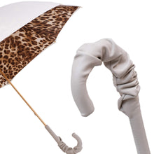 Load image into Gallery viewer, Pasotti Double Cloth White Leopard Umbrella with Leather Handle