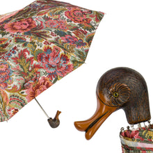 Load image into Gallery viewer, Pasotti Flowered Folding Umbrella with Duck Handle
