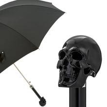 Load image into Gallery viewer, Pasotti Men's Black Umbrella with Black Skull Handle