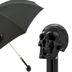 Pasotti Men's Black Umbrella with Black Skull Handle