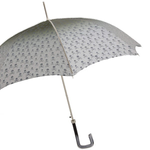 Pasotti Grey Skull & Bones Umbrella with Acetate Handle