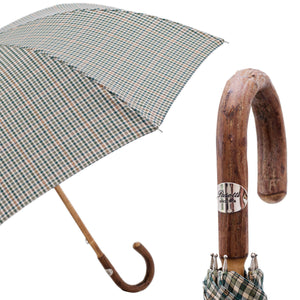 Pasotti Men's Tartan Umbrella with Elm Wood Solid Stick Handle