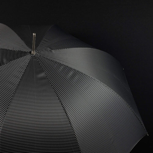 Pasotti Men's Umbrella Black with White Dots and Leather Handle