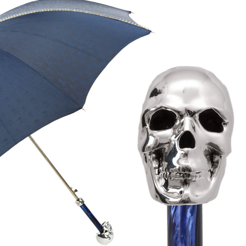 Pasotti Men's Navy and Silver Stud Umbrella with Silver Skull Handle