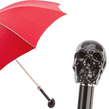 Load image into Gallery viewer, Pasotti Red Silver Stud Umbrella with Black Skull Handle