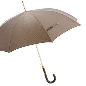 Pasotti Umbrella Brown Houndstooth with Leather Studded Handle