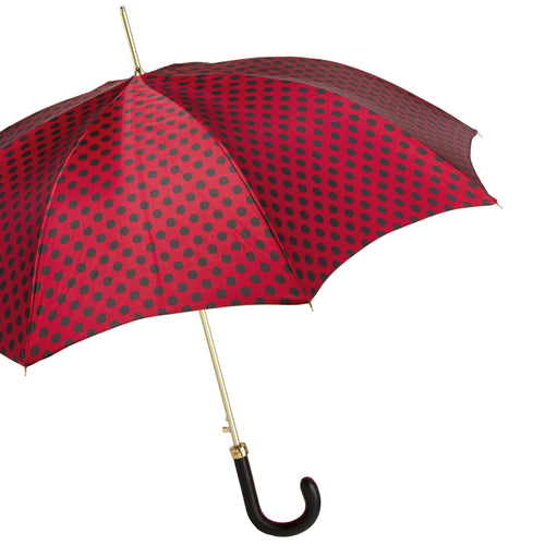 Pasotti Umbrella Red with Black Polka Dots