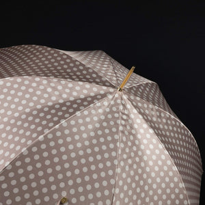Pasotti Umbrella Nude Polka Dot Parasol with Leather Handle