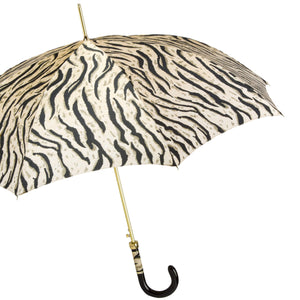 Pasotti Women's Umbrella - Tiger Print with Leather Handle