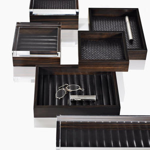 Riviere Macassar Rectangular Ebony Tray with Leather lining