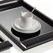 Load image into Gallery viewer, Riviere Homewares Riviere Black Lacquered Tray with Leather and Chrome Handles