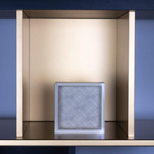 Load image into Gallery viewer, Riviere Homewares Riviere Leather Box with Carved Acrylic Lid and Floral Decor in Ivory