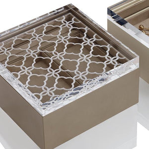 Riviere Leather Box with Carved Acrylic Lid and Floral Decor - Ivory