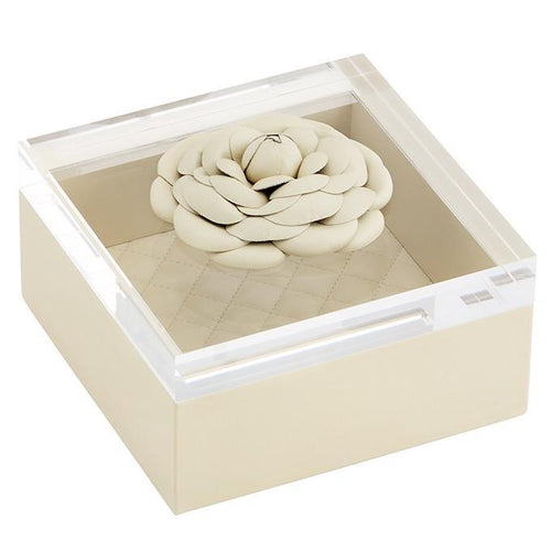 Riviere Leather Box with Leather Flower - Ivory
