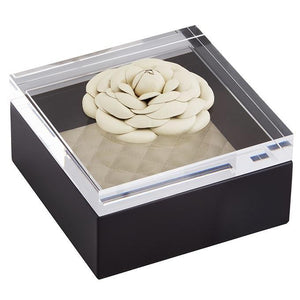 Riviere Leather Box with Leather Flower - Black/Ivory