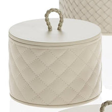 Load image into Gallery viewer, Riviere Homewares Riviere Small Round Quilted Leather Box with Lid - Ivory