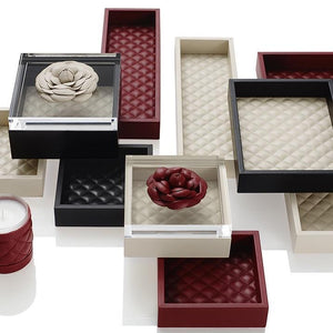 Riviere Small Diamond Quilted Leather Tray -Ivory