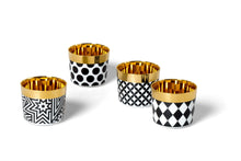 Load image into Gallery viewer, Sieger by Furstenburg Bar Sieger by Fürstenberg SIP OF GOLD Tumbler Polka Dots in Black on White
