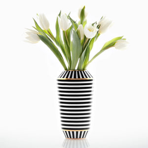 Sieger by Fürstenberg LUNA Vase - Small Black and White