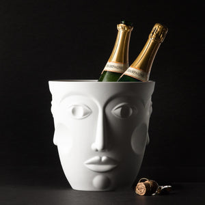 Sieger by Fürstenberg Faces Champagne Bucket - Satin White