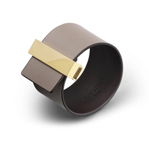 Skultuna Clasp Leather Bracelet Grey with Gold Plated