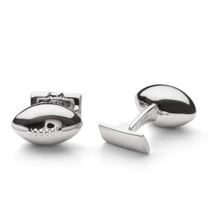 Skultuna Cuff Links Fathers Day Rugby Ball- Silver Plated
