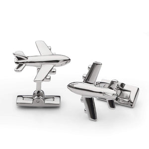 Cuff Links -Fathers Days - Silver Airplane
