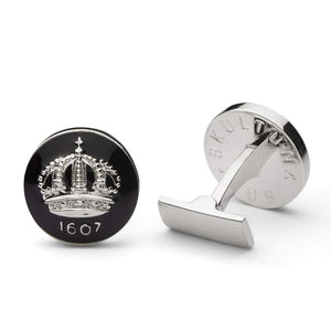 Cuff Links - The Crown - Silver/Black