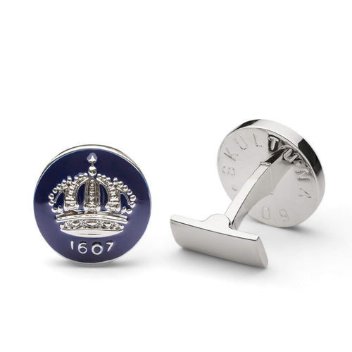Cuff Links - The Crown: Silver/Blue