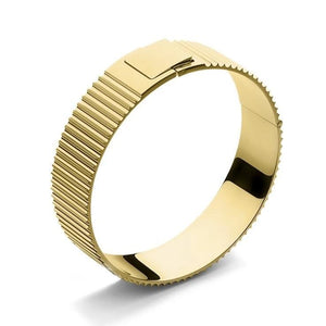 Skultuna Ribbed Clasp Bangle Gold Plated