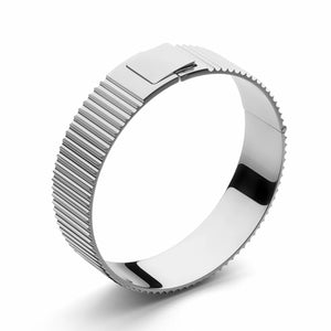 Skultuna Ribbed Clasp Bangle Polished Steel