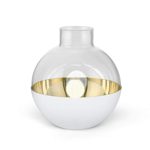 Skultuna Pomme Vase:-Medium White and Brass