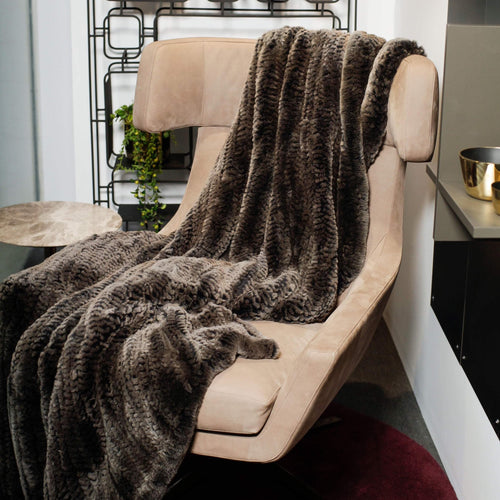 Thomas Albrecht Knitted Rabbit Fur Blanket in Brown and Black