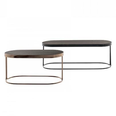Tavalino Cora Large Rectangular Table: Black Base, Walnut Top