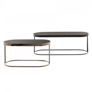 Tavalino Cora Large Table: Chromed Copper Base, Dark Oak Top