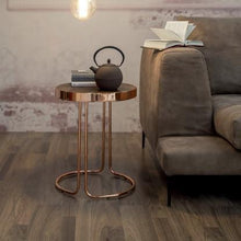 Load image into Gallery viewer, Tonin Casa Occasional Furniture Tavalino Cora Large Table: Chromed Copper Base, Dark Oak Top