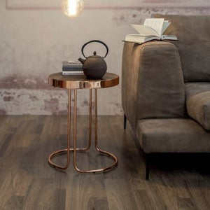 Tonin Casa Tavalino Cora Large Table: Chromed Copper Base, Dark Oak Top
