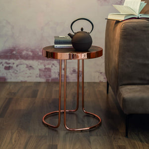 Tavalino Cora Small Round: Black Base, Walnut Top