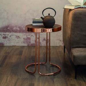 Tavalino Cora Small Round: Chromed Copper Base, Dark Oak Top