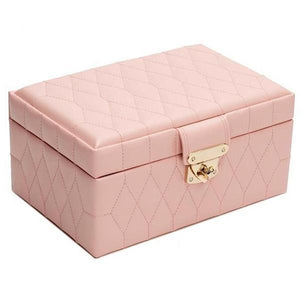 WOLF Caroline Small Leather Jewellery Box - Rose Quartz