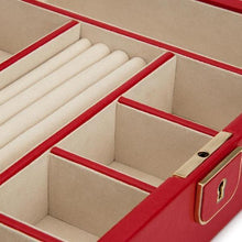 Load image into Gallery viewer, WOLF1834 Homewares WOLF Palermo Medium Leather Jewellery Box - Red