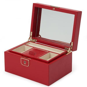 WOLF Palermo Small Leather Jewellery Box - Red
